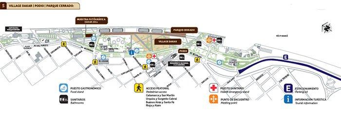 Plano de servicios en el Parque a la Bandera para el Rally Dakar 2014